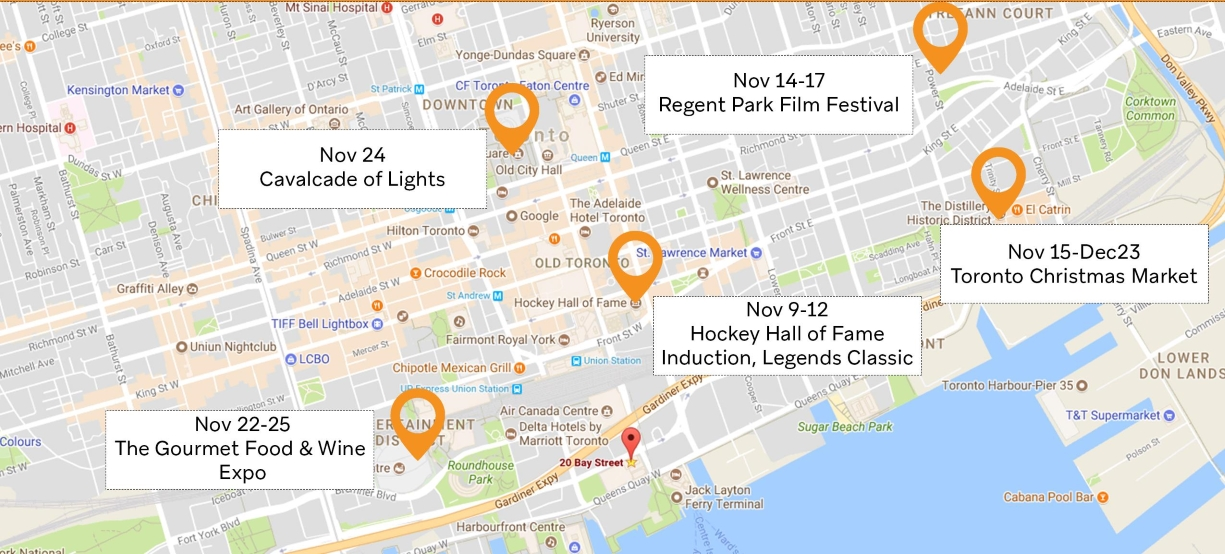 October and November Map of Events in Toronto