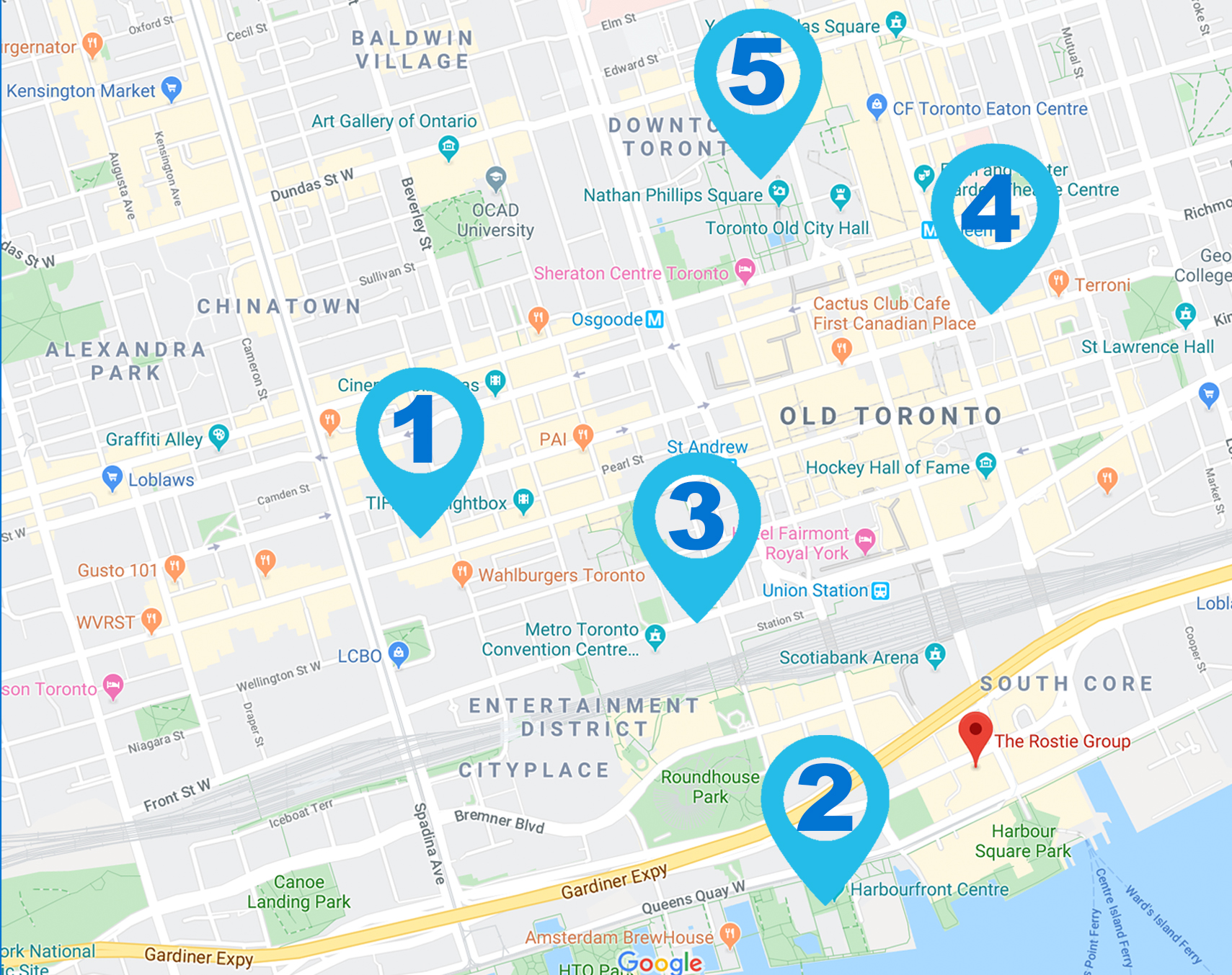 Rostie Group Scoop Map of events in Toronto in February